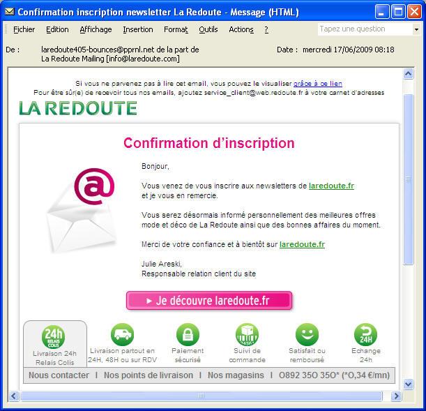 Quelques exemples d emails de bienvenue - La redoute contact mail ...
